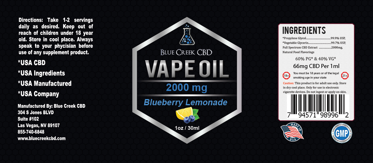 CBD VAPE OIL 2000MG BLUEBERRY LEMONADE